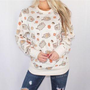 Pusheen Cat Autumn Fall Leaves Crew Sweatshirt